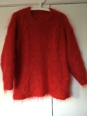 Red Mohair Hand Knit Jumper Chunky Sweater Cable Bright Fluffy 12 14 Oversized