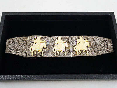 "Antique Early 1900s Chinese Filigree Carved Horsemen 7.25"" Panel Bracelet"
