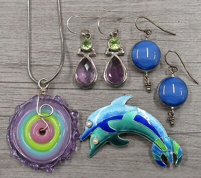 Sterling Silver Jewelry Lot Enamel Dolphin Pin Brooch Colorful Glass Necklace