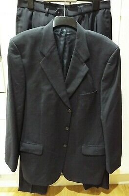 M&S Single Breasted Suit Navy Blue Jacket 44, Trousers 34 Wool Blend with Lycra