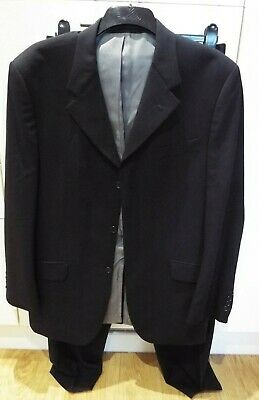 Cecil Gee Single Breasted Suit Black Jacket 42R, Trousers 42R 100% Wool