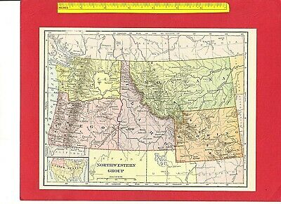 "Vintage 1895 Antique Color Map: NORTHWESTERN STATES WA OR ID MT WY  7.5"" x 9"""