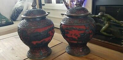 Old Large Pair Chinese Cinnabar Pots ,Lacquer Black & Red, Stunning Items