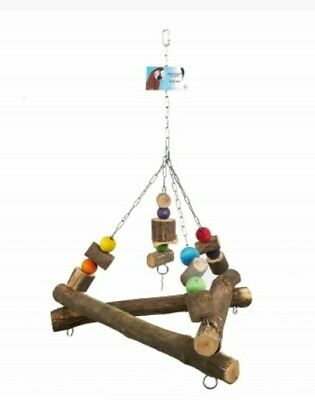 Wooden Triangle Parrot Swing Toy Treasure Triangle Large Parrot Macaw