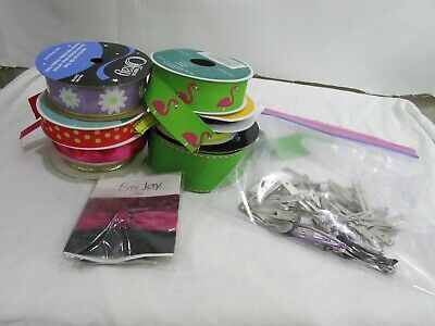 Lot of ribbon, crafting, hair bow making, plus clips gorgeous colors