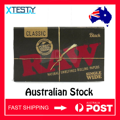 RAW Black Single Width Rolling Papers (AUSTRALIAN STOCK - FAST SHIPPING)