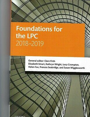 Foundations for the LPC 2018-2019 (Legal Practice Course Manuals) By Clare Firt
