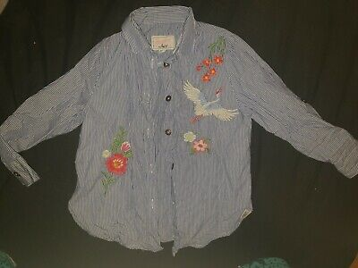 Girls Montaray Blue And White Pinstripe Shirt Top Age 4 Years