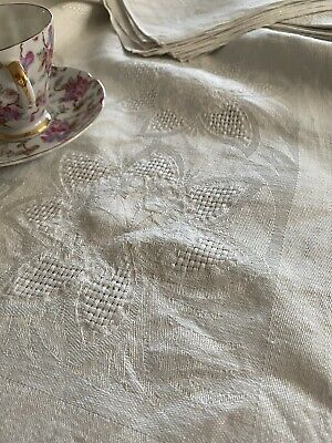 Vintage Floral Damask White Linen Tablecloth With Napkins NWT 🌺