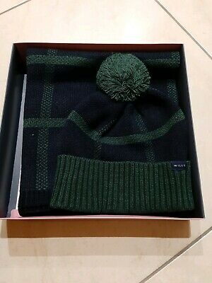 Jack Wills Mens Gents Wincanton Hat & Scarf Set Navy Mix Brand New in Box..