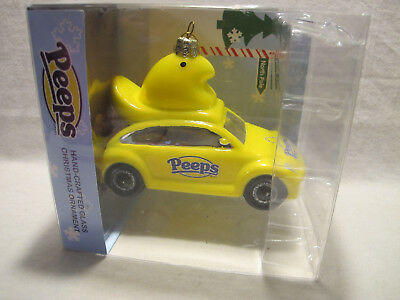 Marshmallow Peeps-Mobile Car w/Chick Glass Glittered Boxed Christmas Ornament