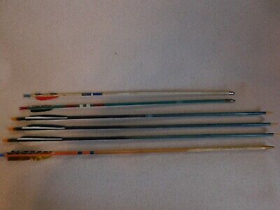 6 Wooden Shaft Arrows Assorted Sizes And Need Some Repair