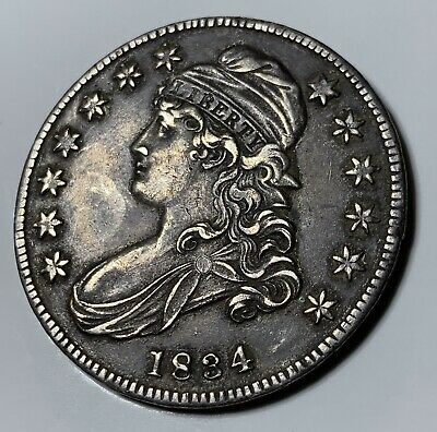 1834 Capped Bust Half Dollar 50C ✬☆✬ AU ~ Misaligned Lettered Edge!!!