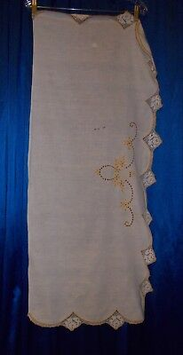 Cutter 5 tablecloth pillowcase linen cotton assortment lot embroidery lace FLAWS