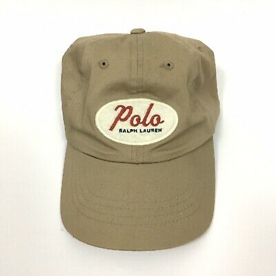 Polo Ralph Lauren Dad Hat Strap Back Beige Cream Felt Spell Out Oval Logo Cap