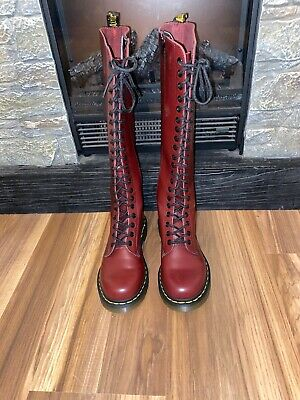 VINTAGE DR. MARTENS Tall Knee High Zip Black Leather Boots