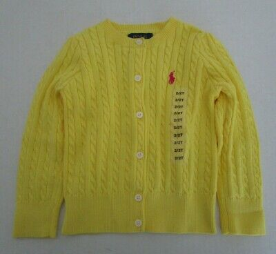 POLO Ralph Lauren Baby Toddler Size 2T Yellow Cable Knit Cardigan Sweater Button