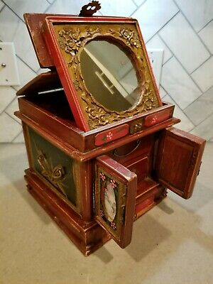Large rare antique wooden hand made Asian jewelry box w/ fold out mirror