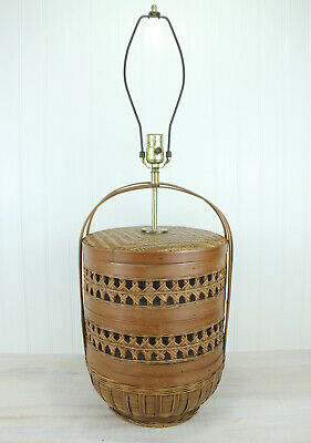 Vintage Mid Century Asian Bamboo Wicker Basket Table Lamp