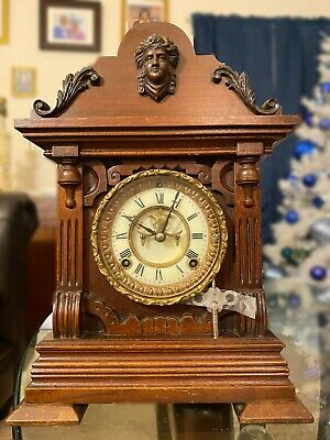 Ansonia Antique Clock Patented 1881 Ansonia Clock Co. Working with Key