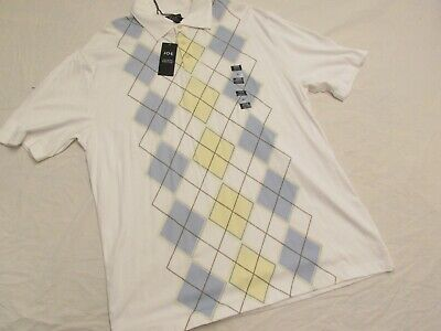 JOE Joseph Abboud Polo Mens X-Large White w/Pastel Diamond pattern
