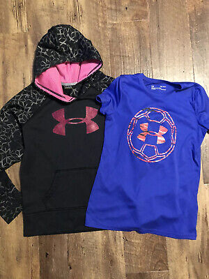 Girls UA Under Armour YLG Youth Large Black Hooded Sweatshirt & Blue Top