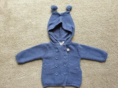 0-3 Months Cotton On Baby Navy Knit Jumper Cardigan Hoodie Size 000 EUC