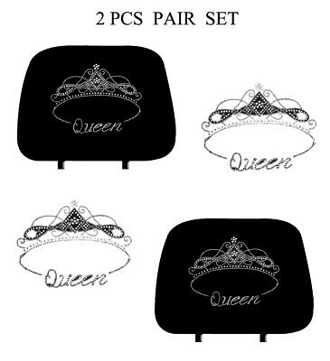Car Truck Crystal Bling Rhinestone Studded Seat Head Rest Covers PAIR-KAH-1017