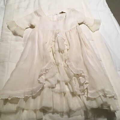 New Boutique Girls Dress I Love Gorgeous Sz 4/5 Ivory With Tiered Ruffles