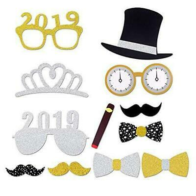 21PCS 2019 New Year/'s Eve Party Card Masks Photo Booth Props Mustache On A Stick