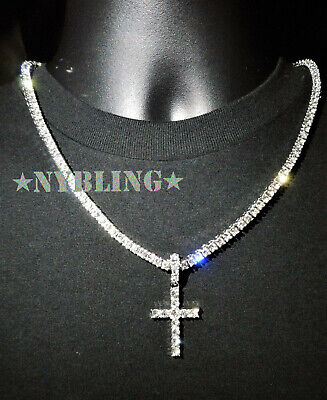 14k Gold Silver IP Tennis Chain Cross Pendant Choker Lab Diamond ICED Necklace