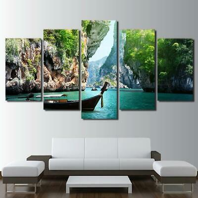 Beautiful Seascape and Boat Ocean 5 Pcs Canvas Wall Art Print Picture Home Decor