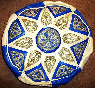 Vintage Luxurious & Exotic Moroccan Handmade Leather Pouf