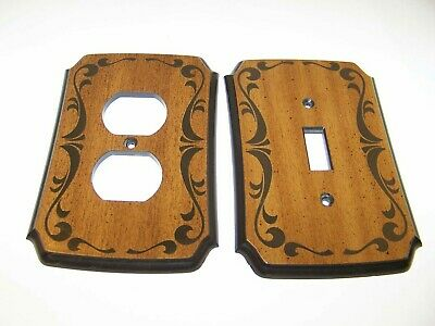 Vintage Amer Tack Light Switch Plate and matching Outlet Cover Faux Wood Style