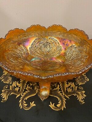 """ANTIQUE FENTON MARIGOLD CARNIVAL GLASS FOOTED OVAL BOWL 2D FLOWERS 10,5x7,5"""""""