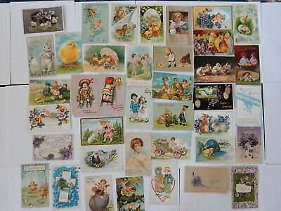 Lot of 40 Victorian Easter Postcards Rabbits Bunny Chicks Eggs few Valentines