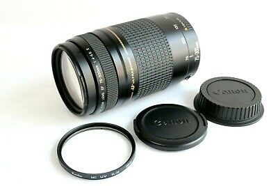 """""""As-Is"""" Canon zoom EF 75-300mm f4-5.6 Ⅱ lens w/caps. filter. from JAPAN"""