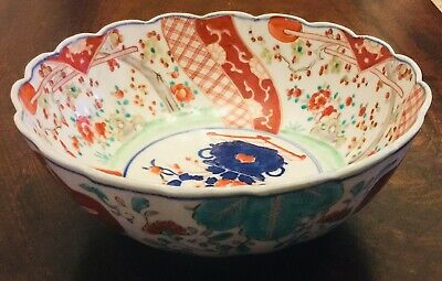 Antique CHINESE Qing Dynasty Imari Porcelain Bowl - Handpainted ORIENTAL
