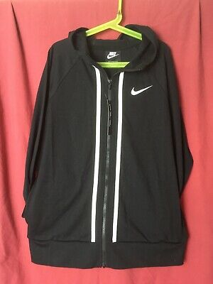 Nike Zip Up Hoodie Girls Age 13-15 Years Lightweight Full Zip Black Hoody