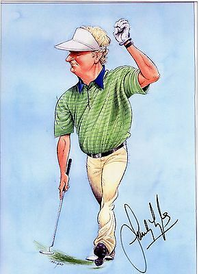 Golf Sandy Lyle Caricature Autograph