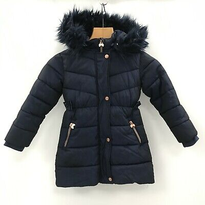 TED BAKER Navy Blue Quilted Winter Faux Fur Hood Coat Girls UK Age 6 472757