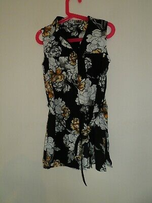 River Island girls black floral blouse age 9 years