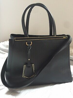 FENDI 2jours Medium Bag In Black Saffiano