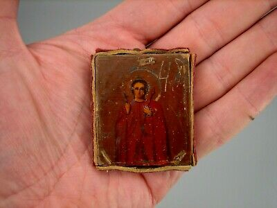 Antique 19c Russian Hand Painted Small Wood Icon John - Warrior VERY RARE!!