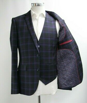 Men's Unbranded Navy Blue and Pink Checked 3pc Suit (40R)..Ref: 7211