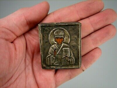 Antique 19c Russian Hand Painted Small Wood Icon Saint Nicholas Silver Oklad 84