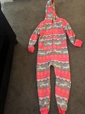 NEXT Girls Snow Pink & Grey Fairisle OnePiece  All In One Loungewear Age 9 BNWOT