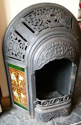 Antique Victorian Tiled Cast Iron Gas Fireplace
