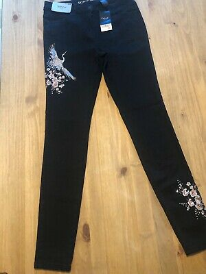 Ladies Black Embellished Skinny High Rise Jeans By Next Size 14L BNWT
