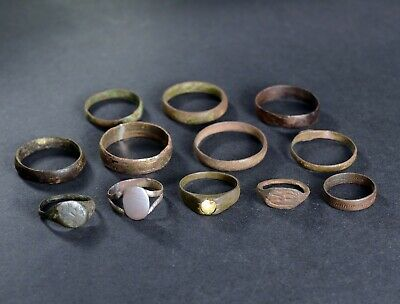Authentic Ancient Medieval Artifacts / Antique Rings Lot. Metal detecting finds.